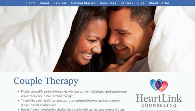 HeartLink Counseling Couples Therapy Page | Brighter Spotlight with Amanda Carver | Brighter Vision Web Solutions | Marketing Blog for Therapists