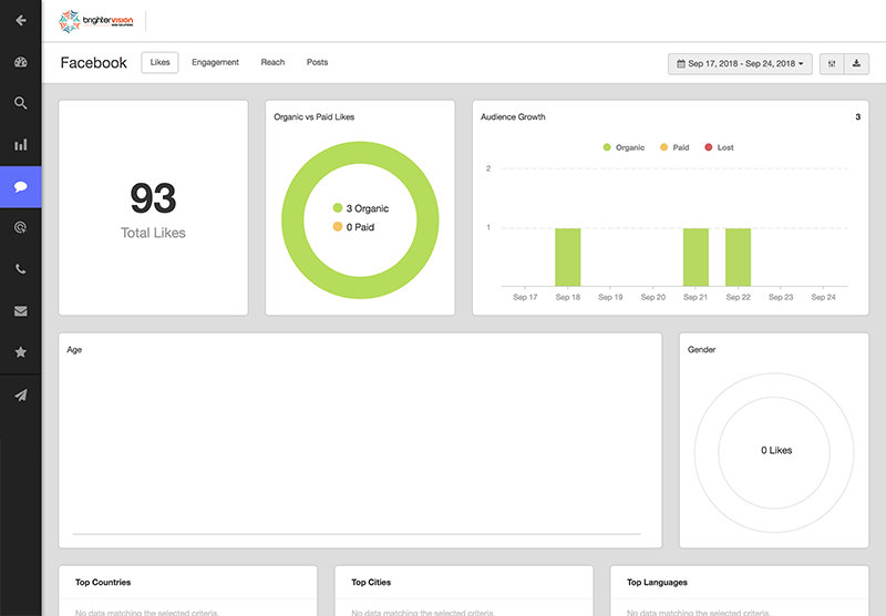 Facebook integration dashboard | Brighter Insights SEO Tool | Brighter Vision Web Solutions | Marketing Blog for Therapists