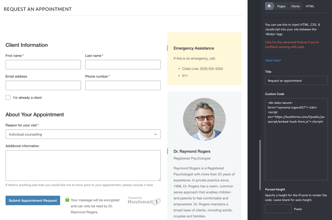 Hushmail secure embedded form | Take Your Therapist Website to the Next Level with an Embedded Secure Web Form | Brighter Vision Web Solutions | Marketing Blog for Therapists