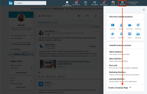 Create a Company Page button | How to Set up a LinkedIn Company Page for Your Private Practice | Brighter Vision | Marketing Blog for Therapists